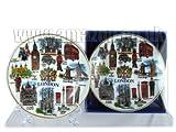 Feines Porzellan-Plate-London Alles mit Wappen (10 cm mit Standfuß), ...