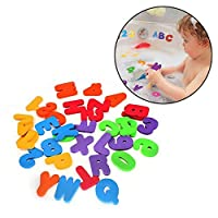FOONEE Bath Foam Letters and Numbers, Baby Fun Education Bathroom Toys 36 Bath Letters and Numbers Non-Toxic EVA Material