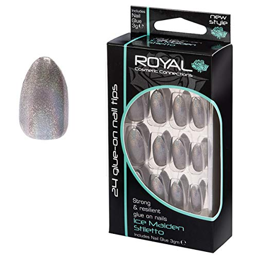 Royal Kit De 24 Faux Ongles Gris Argenté Chatoyant & Colle En Forme Stiletto – Ice Maiden Stiletto