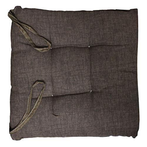 Russo tessuti 6 cuscini sedie cucina coprisedia imbottiti laccetti vari colori tinta unita-marrone