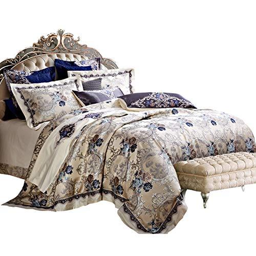 JR%L Romantik King Size Bettwäsche-Sets Tröster, Bett In Einem Beutel Jacquard 10 Stück Bettbezug Ultra Soft Mikrofaser Schlafzimmer Bettdecken-a Queen2 -
