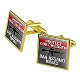 Schützen Unsere Kinder Ban Sturmgewehre Manschettenknöpfe, quadratisch Set Gold Farbe