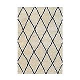 Asma Tapis de Salon Shaggy berbere - 100% Polypropylene - 160x230 cm - Blanc Creme