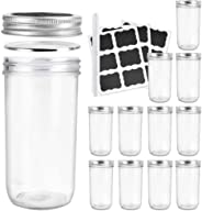 Betrome 22 OZ Wide Mouth Mason Jars, 12 Pack Glass Storage Containers with Airtight Lids and Bands for Salad,Jam,Honey,Food,S