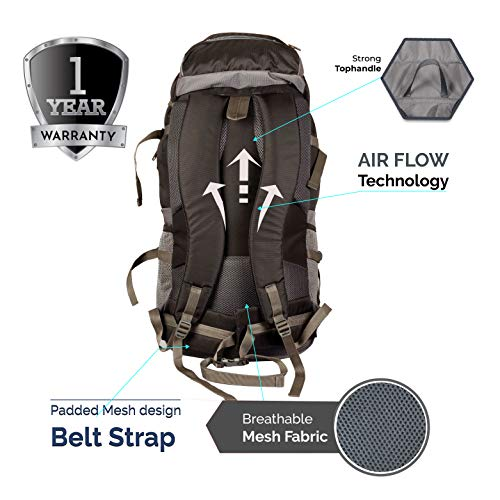 TRAWOC 55 Ltr Travel Backpack for Outdoor Sport Camping Hiking Trekking Bag Rucksack, Black Image 3