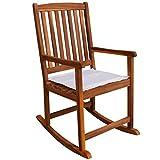 Festnight Gartenstuhl Schaukelstuhl Garten Stuhl aus Akazienholz 54 x 77 x 107 cm für Terrasse oder Garten