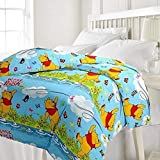 TRUSTFUL Winnie The Pooh Cartoon Kids Design Print Single Bed Reversible AC Blanket | Dohar | Quilt | Comforter | Duvet (Polycotton, Multicolor)