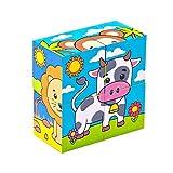 Bimi Boo Puzzle in cubo di Legno per Bambini Piccoli comprende 6 Animali: Cane, Gatto, Mucca, Scimmia, Elefante e Leone