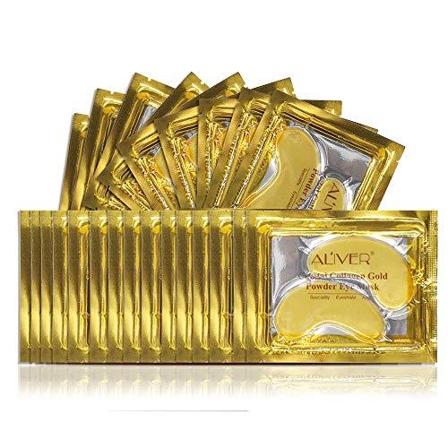 (25 Paar) 24K Gold-Pulver-Gel-Kollagen-Augenmaske, Kollagen Augenpads - Die Feuchtigkeit spendende Anti Falten Augenmaske gegen Augenringe & Fältchen Anti Aging