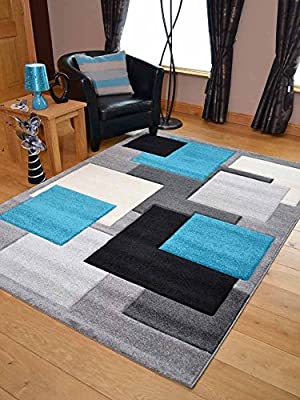 Tempo Teal Blue Square Thick Quality Modern Carved Rugs. Available in 7 Sizes - cheap UK light shop.