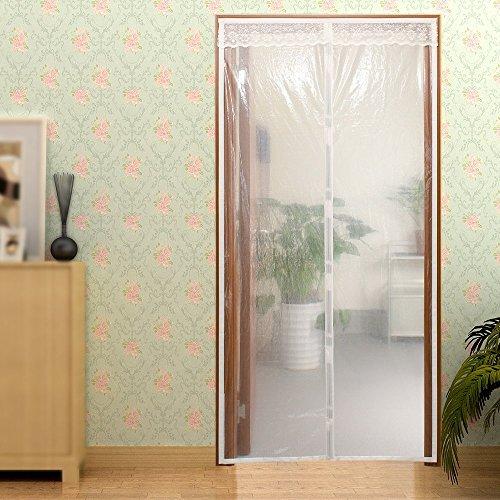 Surpass Winter-Türvorhang, magnetisch, isoliert, hält im Sommer kühl und im Winter warm, schließt automatisch, für Türen bis maximal 86,4x 210,8cm, 91,4x 210,8cm oder 116,8x 210,8cm Off-weiße Fenster Gardinen