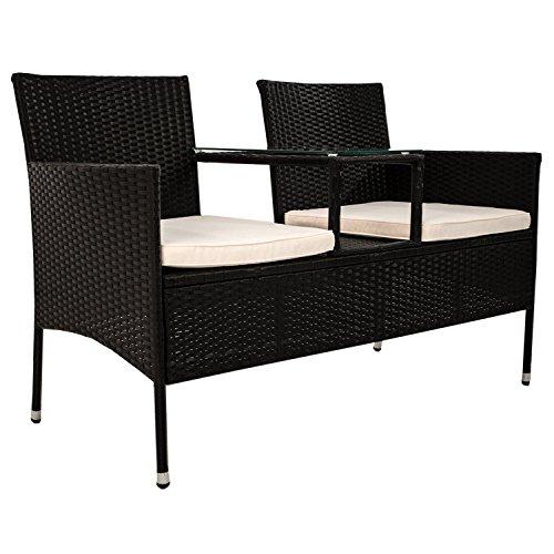 Polyrattan Gartenbank Monaco mit integriertem Tisch für 2 Personen - 2