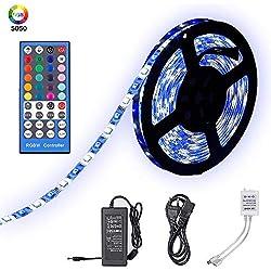 Tiras LED de Luz RGBW IP65 Impermeable 5M 300 Leds 5050 SMD Tira LED Kit Completo con Control Remoto de 40 Botones y Fuente de Alimentación 12V 5A