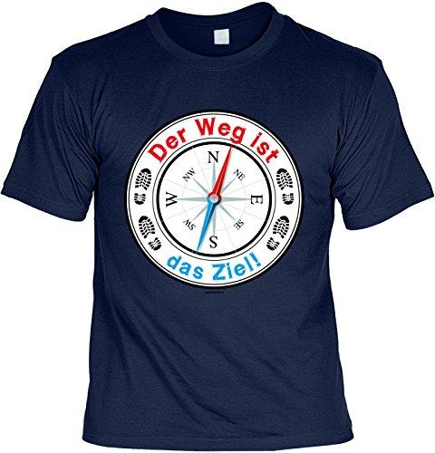 Wander/Kletter-Shirt/Sprüche-Shirt Thema Wandern: Der Weg ist das Ziel! für Gipfelstürmer Navyblau