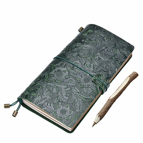 gossipboy Vintage Carving Design Leder Traveler Notebook nachfüllbar wiederverwendbar Zeitschriften Tagebuch Notizblock Bezug mit 3Papier fügt, Leder, grün, 220 x 124mm / 8.66