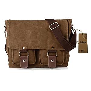Tekon British Style Retro Mens Canvas Leather Messenger Traval Shoulder Travel Hiking Camping Bag