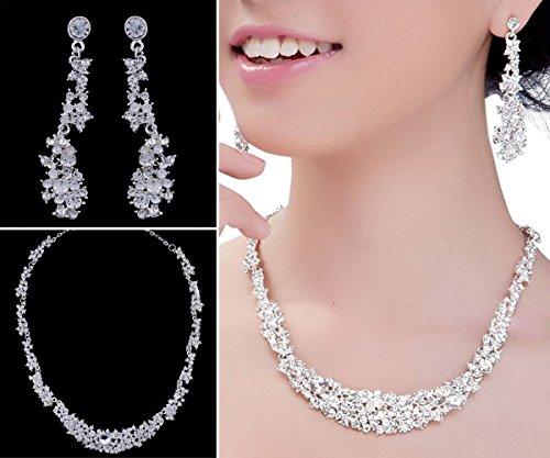 Art und Weise Kristallhochzeit Halsketten & Ohrring Satz, Frauen Bling Zircon-Schönheits-Zusätze für Braut/Mädchen-Dekoration, die Schmucksache Kopfschmuck für Brautjunfer Trägt
