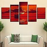 Wiwhy (Kein Rahmen) Wohnzimmer DekorWandkunst Hd Gedruckt 5 Stücke Schiff Wolke Und Roter Himmel Sonne Seascape Modulare Leinwand Gemälde Poster Bild