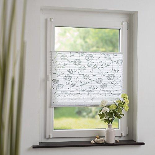 DECOLIA Klemmfix-Plissee verspannt, Ohne Bohren Oder Schrauben mit ausgebranntem Blumenmotiv, Breite/Höhe: 50 x 130 cm, Farbe: Weiß