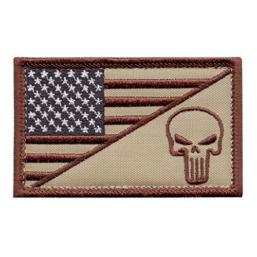 2AFTER1 Desert DCU USA Flag Punisher Skull Navy Seals Morale Army Gear Fastener Patch