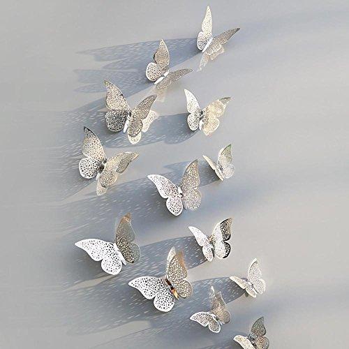 Tonsee Wandaufkleber Wandtattoos 12 Stücke 3D Hohl Schmetterling Kühlschrank für Heimtextilien Wandtattoo Wandaufkleber Sticker Wanddeko für Schlafzimmer Wohnzimmer Kinderzimmer (D) -
