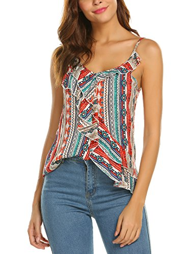 Plunge Damen T-Shirt Bluse Sommer Tank Top Trägerlos V-Ausschnitt Weste Blumen Tunika Tops Basic Shirt Boho (S, Orange) -