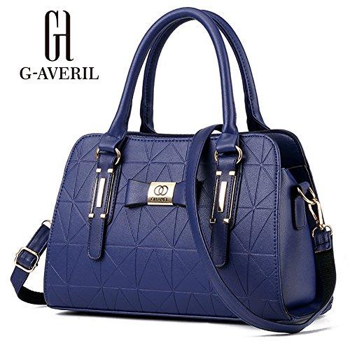 (G-AVERIL)Donne Boutique moderno ed elegante maniglia superiore borsa del messaggero della borsa della spalla del Tote casuale del lavoro Bauletto Rosso Blu scuro