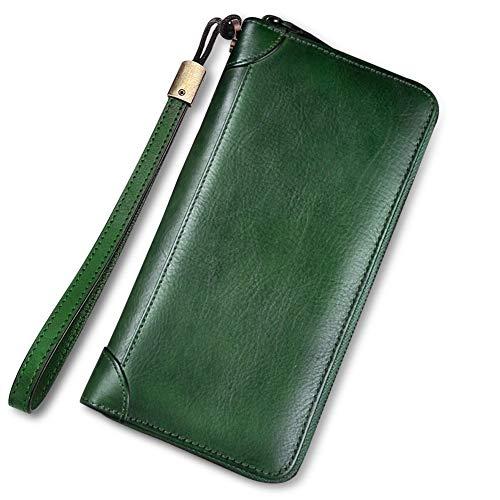 IVTG Geldbörse aus echtem Leder für Damen, Vintage, handgefertigt, doppelter Gebrauch, Clutch, Rindsleder, Kartenhalter - - Einheitsgröße -