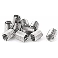 10 piezas de acero inoxidable 304 Helicoil hilo de alambre de reparación insertos M6 x 1 mm x 2,5 D tono plateado