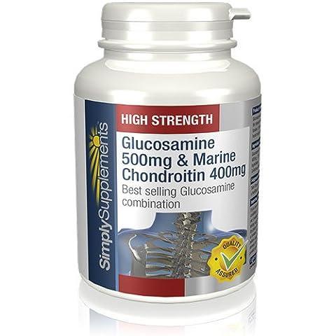 SimplySupplements Glucosamine 500mg & Chondroitin 400mg | Clinically Proven | 120 Capsules | 100% money (Glucosamina Solfato Msm)