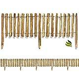 Floranica Rollzaun aus Holz in 8 Größen, Integrierte Pfosten, imprägnierter, getackerter Steckzaun, gut gespaltene Staketen, sichere Spitzen, Lattenabstand:4-6 cm, Höhe:50 cm hoch / 500 cm lang