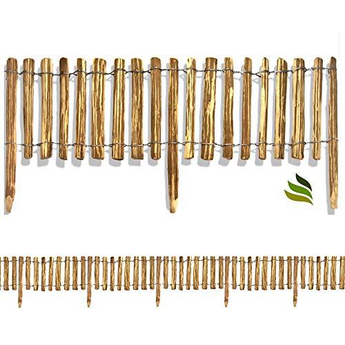 Floranica Rollzaun aus Holz in 8 Größen, Integrierte Pfosten, imprägnierter, getackerter Steckzaun, gut gespaltene Staketen, sichere Spitzen,...