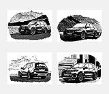 General ART Lot de 4 Impressions murales en Noir et Blanc pour Voitures BMW X7 Format A4 21 cm x 29 cm sans Cadre pour Amateurs d'automobile Minimaliste