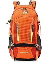 50L mochila de senderismo bolsa de hombro del recorrido al aire libre de gran capacidad transpirable y resistente al agua , orange