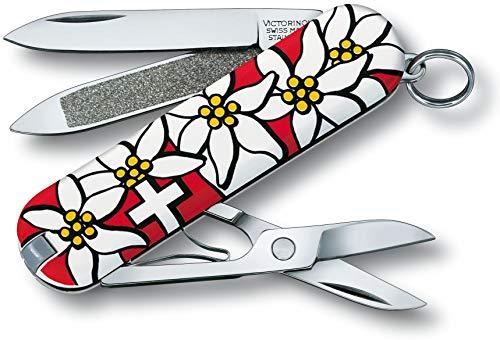 Victorinox Taschenmesser Classic (7 Funktionen, Schere, Nagelfeile mit Nagelreiniger) edelweiss B1