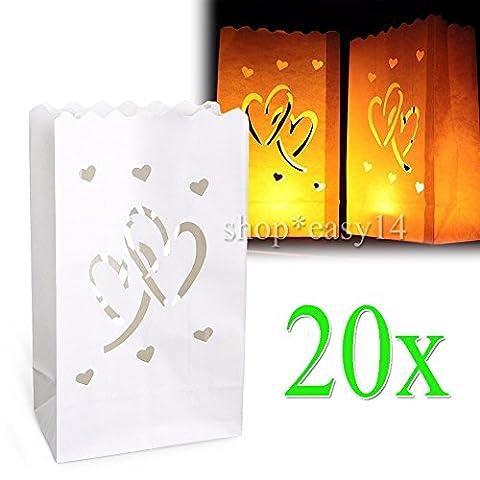 EMOTREE 20x Lichttüten Doppel Herz Luminarias Kerzentüten Papier Candlebags Kerzenhalter Hochzeit (Herz Glas Teelicht)
