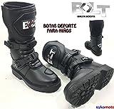 BOLT XK15 NIÑOS Casual Estilo Motocross Motocicleta Deporte Reforzado Botas Negro (EU 37/4 UK)
