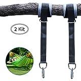 Hamaca Correas de árbol Cinturón de Suspensión 2 Kit 150cm, Cuerdas Multifuncionales Suspensión Sostiene hasta 500 kg para Hamacas, Columpios