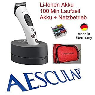 Samsebaer Rotschopf24 Edition: AESCULAP Akku Hundeschermaschine Akkurata (GT 405) + 8 Metallaufsteckkämme + Tasche!