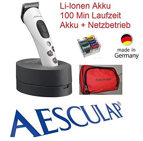Rotschopf24 Edition: Samsebaer - tosatrice per cani Aesculap Akkurata a batteria ricaricabile (GT 405), 8pettini in metallo intercambiabili, dotata di borsa