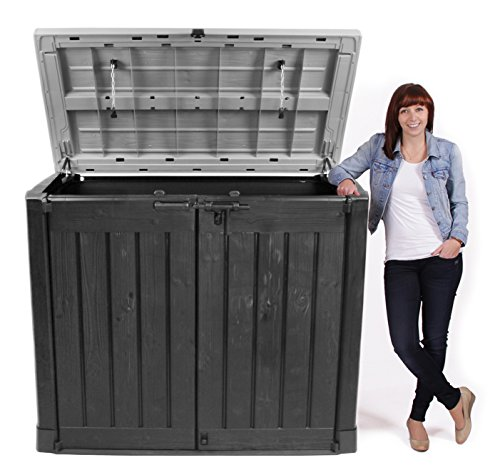 Keter Store It Out Max Gartenbox Mülltonnenbox Gerätebox Schuppen für 2 x 240 Liter Mülltonnen (Anthrazit Grau) - 4