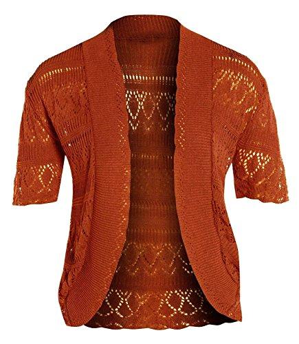 Janisramone femme Boléro shrug crochet tricot cardigan taille 8-24 ROUILLE