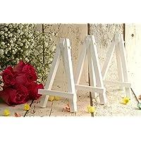 Mini Caballetes de Madera Blancos - Pack de 3 - Caballetes Para Mesa Para Números de Mesa y Tarjetas de Mesa Para Bodas y (12 cm de Alto). Disponible en Paquetes de 3, 6 y 10.