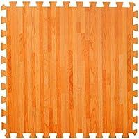 Grande Esterillas de Espuma Conectables Efecto Madera - Perfectas para Protección de Suelos, Garaje, Ejercicio, Yoga y Sala de juegos. Espuma Eva (4 azulejos, Madera natural)