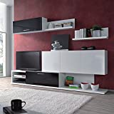 Habitdesign 0T6661BO - Mueble de comedor salón, color Blanco y Negro Brillo, medidas 260 x 200 x 43 cm de fondo