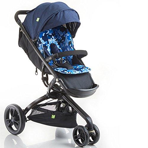 Camo Kinderwagen, faltbares Stoßdämpfer-Dreirad, Aluminiumrahmen, Schwamm-Kissen ( Color : Camo Blue ) (Camo Kinderwagen)