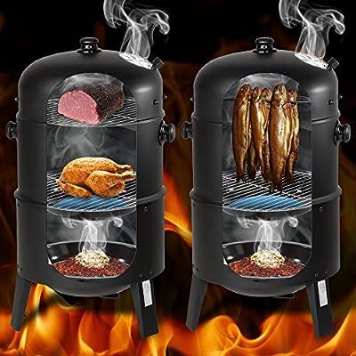 TecTake 3in1 BBQ Holzkohlegrill Barbecue Smoker Räuchertonne Räuchergrill mit Thermometer -diverse Modelle-