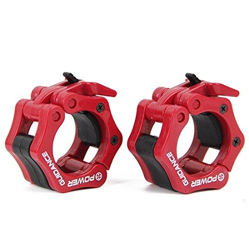POWER GUIDANCE Barra de pesas olímpico Barra abrazadera ABS Control collares Gran Cruz de la aptitud del entrenamiento (1 par), Estándar / 50mm Lanzamiento Rápido Par de Bloqueo Olympic Bar (Rojo)