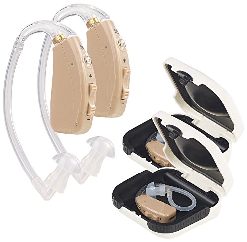 newgen medicals Hörgerät: Akku-HdO-Hörverstärker HV-633, zwei Klangkulissen-Modi, 33 dB, 2er-Set (Accu Hörgerät)