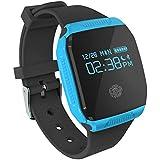 COOSA inteligente Muñequera E07S (E07 Mejor) pulsera de sincronización Actividad Salud impermeable GPS rastreador de ejercicios Bluetooth para Android y Smart Band IOS (azul, E07S)